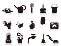 Black household icons. Black household icons from white background Royalty Free Stock Images