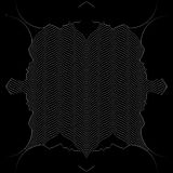 Black human profiles on black optical background. Black human profiles on black background and line drawing white wavy abstract shapes. Optical vector Royalty Free Stock Photography
