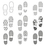 Black human shoes footprint various sole outline icons eps10 Royalty Free Stock Photography