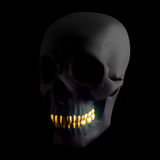 Black Human Skull with Gold Teeth. Golden Smile. Halloween Idea. Clipping Path.  Isolated on Black. 3D Illustration Royalty Free Stock Photos