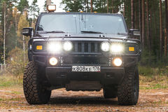 Black Hummer H2 car, front view Stock Photos