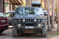 Black Hummer H2 vehicle, closeup front view Stock Images