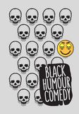Black Humour Comedy Conceptual Poster Design With A Smiling Laughing Emoji And Skulls Vector Image.  royalty free illustration