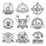 Black Hunting Emblems Set Royalty Free Stock Photography