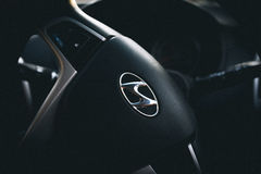 Black Hyundai Steering Wheel Stock Photo