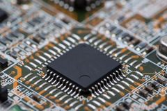 Black IC on Circuit Board Stock Images