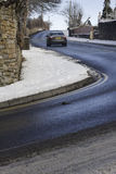 Black Ice. Shot of a car traveling up a very steep hill in Seaton/Workington called Calva Brow. This was a treacherous driving condition where there was severe Royalty Free Stock Image