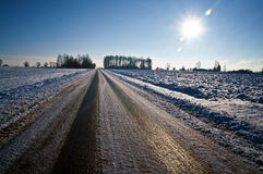 Black ice on a country road - slippery conditions Royalty Free Stock Photos