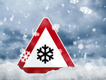 Black Ice. Warning sign warns against black ice Royalty Free Stock Image