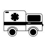Black icon ambulance car cartoon Royalty Free Stock Image