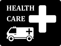 Black icon with ambulance car Stock Photography