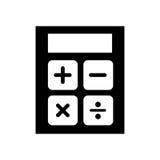 Black icon calculator cartoon. Vector graphic design Stock Photos