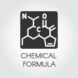 Black icon of chemical formula in flat style. Medicine, science, biology, chemistry theme. Vector label Royalty Free Stock Photography