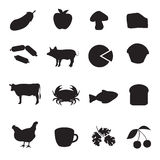 Black icon collection of different type of food Royalty Free Stock Image