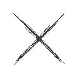 Black icon cross drawn with charcoal. Vector illustration Stock Photography