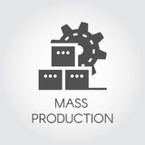 Black Icon in flat style of gear wheel and boxes. Mass production and modern machinery equipment concept Royalty Free Stock Images
