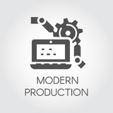 Black icon in flat style of modern production and computer technology concept. Pictograph graphic or infographic element Stock Image