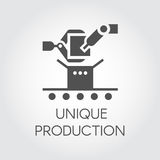 Black icon in flat style of robot arm and conveyor. Concept of unique production. Vector illustration Royalty Free Stock Images