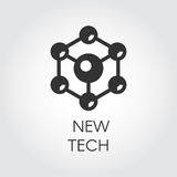 Black icon in flat style of spherical particles. Connection molecular structure label. Logo of new tech concept Royalty Free Stock Photography