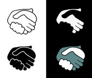 Black icon handshake. background Royalty Free Stock Image