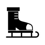 Black icon ice skate cartoon. Black icon cute ice skate cartoon vector graphic design Royalty Free Stock Images