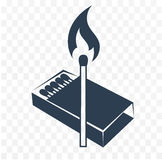 Black  icon lighted match. Isilhouette, black and white icon lighted match with a box of matches. two colors Royalty Free Stock Photo