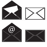 Black icon mail message. Raster Royalty Free Stock Photos