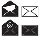 Black icon mail message. Raster. Raster Royalty Free Stock Photos