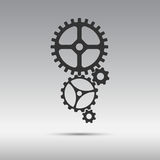 Black icon mechanism from cogwheels in vertically placed Royalty Free Stock Image
