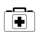 Black icon medical bag cartoon Stock Photo