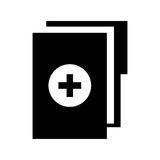 Black icon medical history folder. Vector graphic design Royalty Free Stock Image