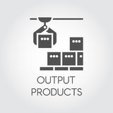 Black icon of output products concept. Modern equipment for factories and plants Stock Image