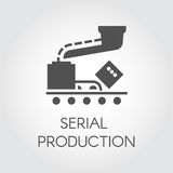 Black icon of serial production concept. Modern equipment for factories and plants. Vector illustration in flat design Royalty Free Stock Images
