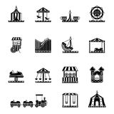 Black icon set of amusement park, carousel and other attractions. Vector illustrations. Carousel and amusement park silhouette Stock Photos