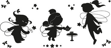 Black icon set of fairies. Three black silhouettes for kids. Cute fairies flying with wands Stock Images