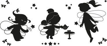 Black icon set of fairies stock images