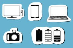 Black icon set of mobile devices, computer, camera, battery and  tv. Vector illustration Royalty Free Stock Image