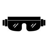 Black icon snowboard protective glasses. Cartoon vector graphic design Stock Photo