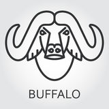 Black icon style line art, head wild animal buffalo, bull. Black flat simple icon style line art. Outline symbol with stylized image of a head of a wild animal Stock Photography