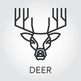 Black icon style line art, head wild animal deer. Black flat simple icon style line art. Outline symbol with stylized image of a head of a wild animal deer Royalty Free Stock Photos