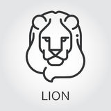 Black icon style line art, head wild animal lion. Black flat simple icon style line art. Outline symbol with stylized image of a head of a wild animal lion, leo Stock Photo