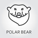 Black icon style line art, head wild animal polar bear, sea bear. Black flat simple icon style line art. Outline symbol with stylized image of a head of a wild Royalty Free Stock Photography