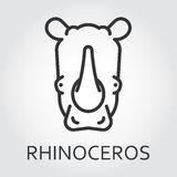 Black icon style line art, head wild animal rhino, rhinoceros. Black flat simple icon style line art. Outline symbol with stylized image of a head of a wild Royalty Free Stock Photo