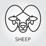 Black icon style line art, head wild animal sheep, ram. Royalty Free Stock Image