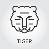 Black icon style line art, head wild animal tiger. Stock Photography