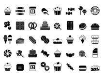 Black icon of sweets. Candies chocolate biscuits pie ice cream and pancakes monochrome vector silhouettes royalty free illustration