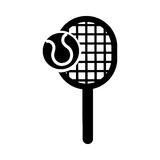 Black icon tennis racket and ball cartoon. Vector grapphic design Stock Images