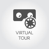 Black icon of virtual tour in flat style. Concept of virtual reality games, presentation, digital technologies Stock Photography