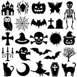 Black icons. Black,dark and bad illustration. Halloween icons Royalty Free Stock Photos