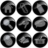 Black Icons. Black glossy icons, internet business Royalty Free Stock Images